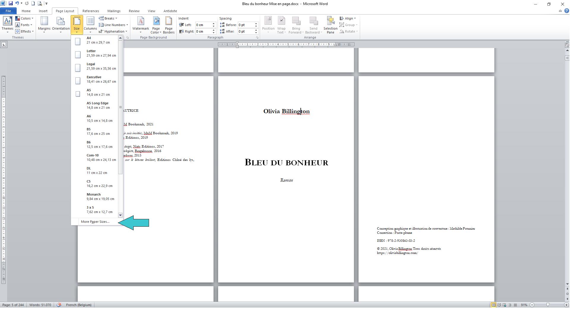 Mise en page d'un roman : taille des pages